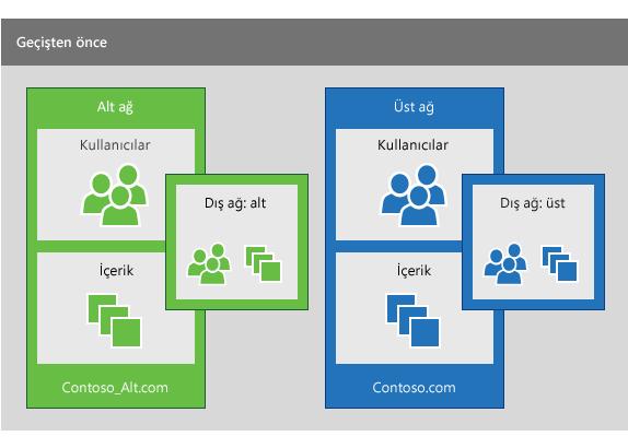 Alt ağdaki kullanıcıları üst ağdakilerle birleştirmek için geçiş işlemini gerçekleştirilmeden önce kullanılacak yan ve üst bir Yammer ağı