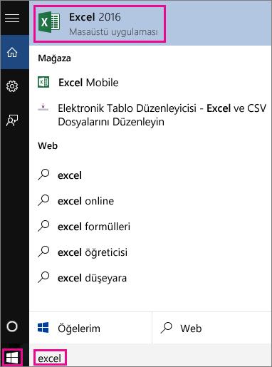 Uygulamalarda veya web'de arama yaparak bir Windows 10 araması başlatma