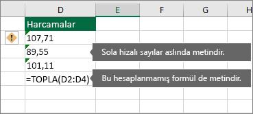 Metin olarak sayıların depolandığı, yeşil üçgenlerle belirtilen hücreler