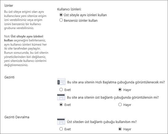 Gezinti ve izin SharePoint 2016 alt iletişim showning bölüm