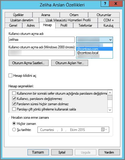 Kullanıcı için yeni UPN öneki ekleme