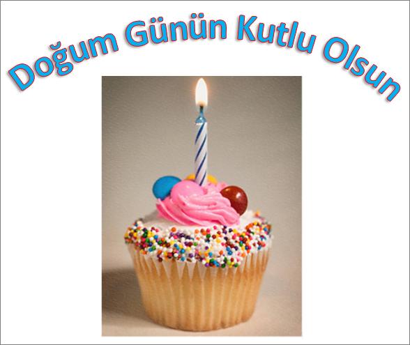 Doğum Günün Kutlu Olsun yazısıyla birlikte bir resim eklenmiş WordArt örneği