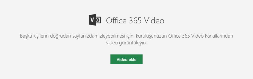 SharePoint'te Office 365 Video ekle iletişim kutusunun ekran görüntüsü.