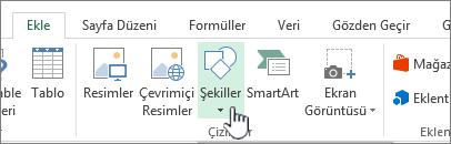 Excel Ekle Şekiller düğmesi