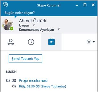 Skype Kurumsal penceresindeki Toplantılar sekmesinin ekran görüntüsü.