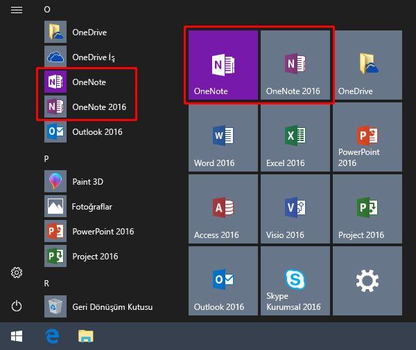 OneNote ve OneNote 2016'yı içeren Windows Başlat menüsünün ekran görüntüsü.