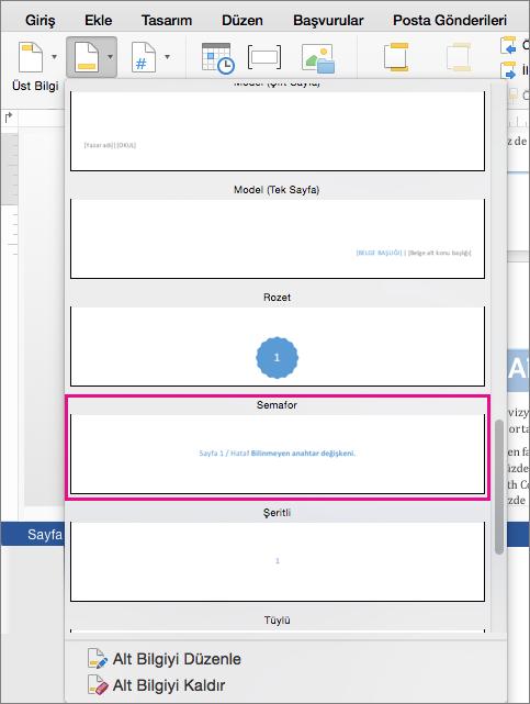 """Alt bilgi stilleri galerisinde """"Sayfa X/Y"""" şeklinde alt bilgi eklemek için Semafor'a tıklayın."""