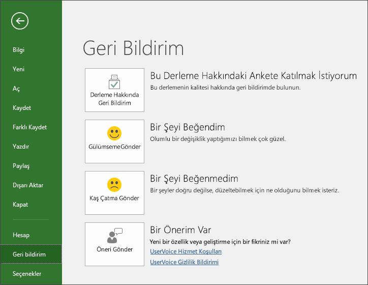 Microsoft Project hakkında öneri veya yorumlarınızı iletmek için Dosya > Geri Bildirim'e tıklayın.