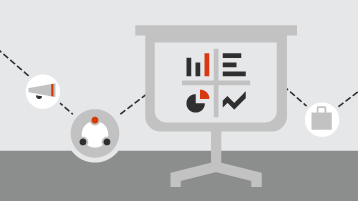 Grafik ve grafiklerle slayt gösterisinin temsili