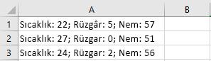 Excel'deki hücreler