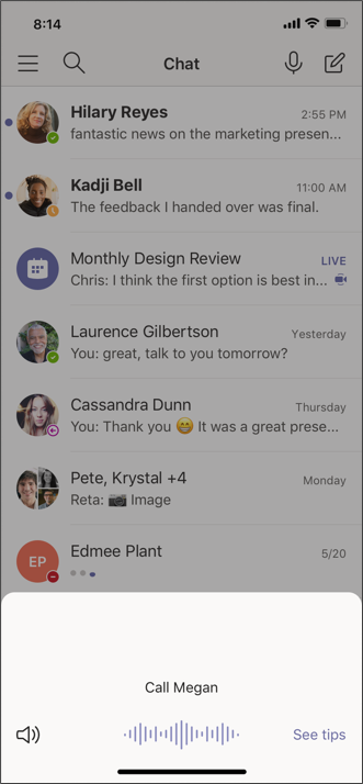 Cortana Mobil çağrı ekranı 1 ekran görüntüsü