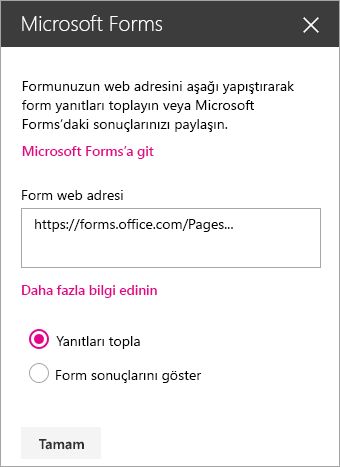 Mevcut bir forma yönelik Microsoft Forms web bölümü paneli.
