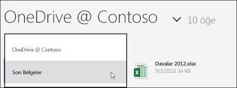 OneDrive İş görünüm menüsü
