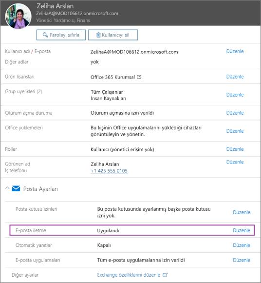 Ekran görüntüsü, Allie Bellew adlı kullanıcının kullanıcı profili sayfasını gösterir; sayfada E-posta iletme Uygulandı olarak ayarlanmıştır ve düzenleme seçeneği sağlanır.