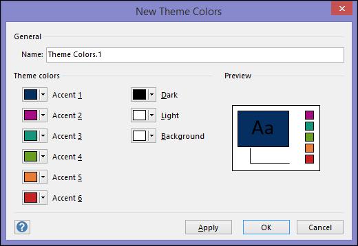 Screesnhot Visio'da yeni Tema renkleri Oluştur iletişim kutusunu görüntüleme