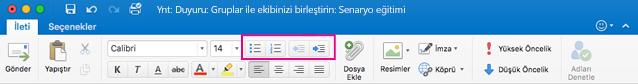 Mac için Outlook şeridindeki liste düğmeleri