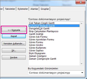 Açık durumdaki projenin öğe listesini gösteren Project düzenleyicisi.