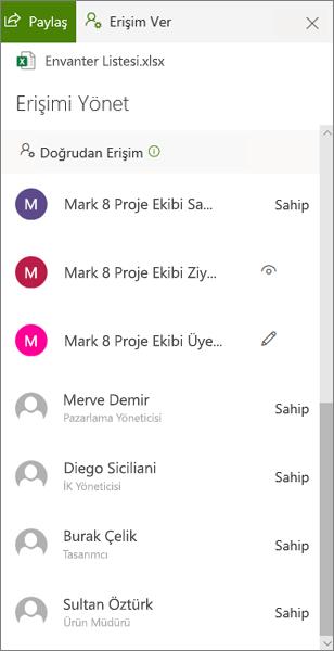 OneDrive Iş 'te erişimi yönet bölmesinin doğrudan erişim bölümü