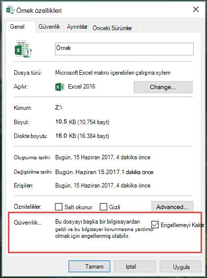 Dosyanızı makroları engellemesini kaldırmak için Windows Gezgini'nde sağ tıklatın.