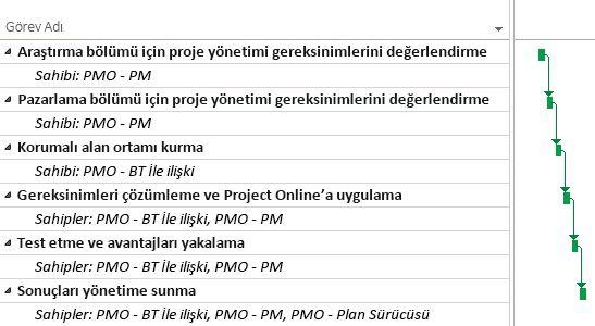 Project Online'da PMO projesi planı