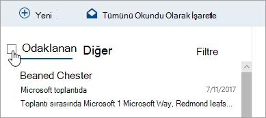 İleti listesinin üstündeki onay kutusunun ekran görüntüsü