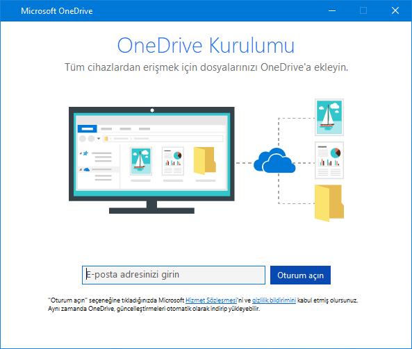 OneDrive kurulum ekranı yeni kullanıcı arabirimi