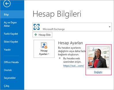 Outlook'ta fotoğraf bağlantı değiştirme