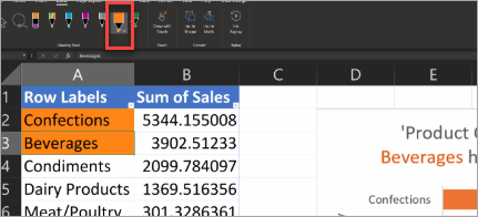 Excel'de Eylem Kalemi'ni gösterir