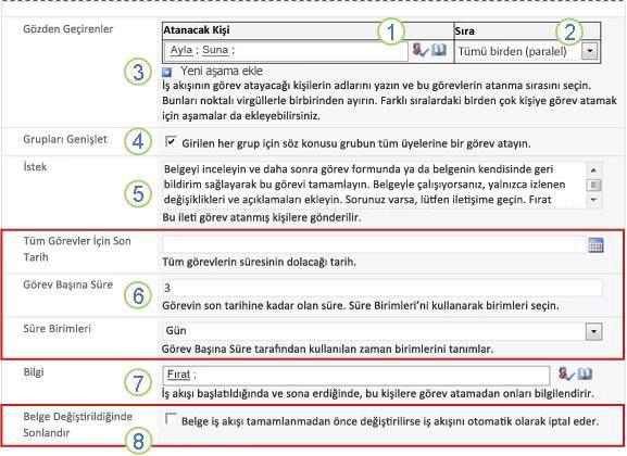 İlişkilendirme formunun, belirtme çizgileriyle numaralandırılmış ikinci sayfası