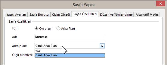 Sayfa Yapısı > Sayfa Özellikleri bölümündeki Arka Plan açılan menüsünde Canlı Arka Plan'ın seçili olduğu ekranın görüntüsü