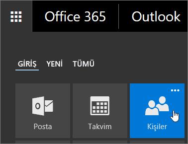 Office 365 Uygulama Başlatıcı'da Kişiler kutucuğunun üzerine getirilmiş imlecin ekran görüntüsü.