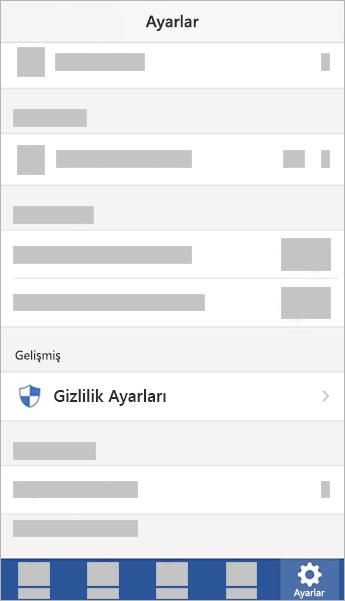 Gizlilik Ayarları düğmesinin ekran görüntüsü