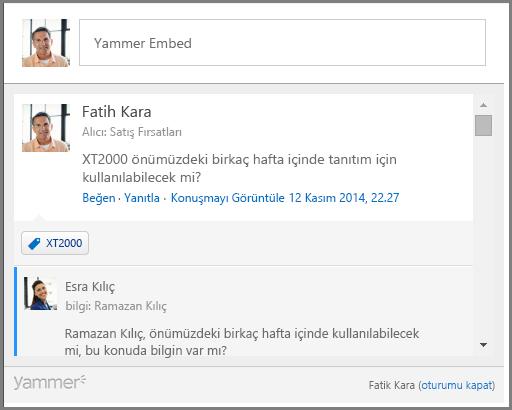 Yammer Embed ekran görüntüsü