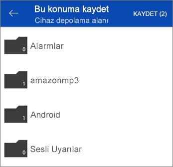 OneDrive'da dosyaları kaydetme