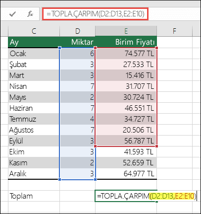 Hataya neden olan TOPLA.ÇARPIM formülü: =TOPLA.ÇARPIM(D2:D13,E2:E10) - ilk aralıkla eşleşmesi için E10'un E13 ile değiştirilmesi gerekir.