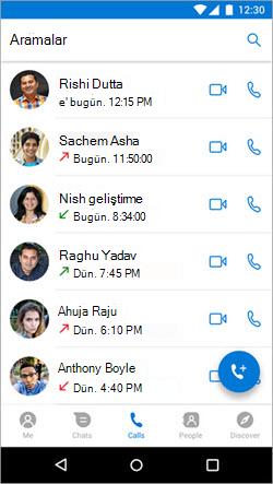 Kaizala 'deki çağrılar sekmesinden çağrı başlatma ekran görüntüsü