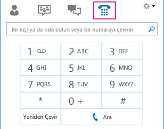 Arama yapmak için kullanılabilecek arama tuşlarının gösterildiği Telefon simgesinin ekran görüntüsü