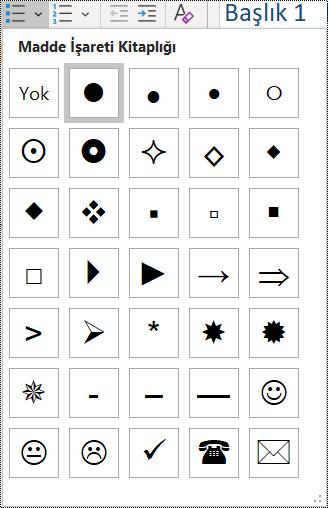 Giriş menüsünde madde işaretli liste öğesi seçiminin ekran görüntüsü.