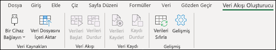 Excel şerit menüsünde Veri Akışı Oluşturucu eklentisi