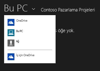 Başka bir uygulamadan OneDrive İş'i seçme
