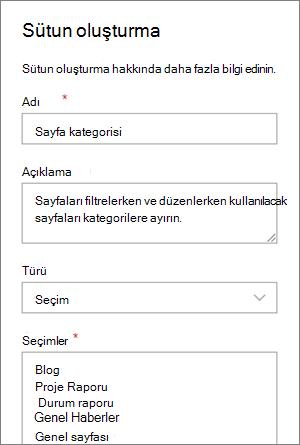 Bloglar için bir kategori seçim sütunu ayarlama örneği