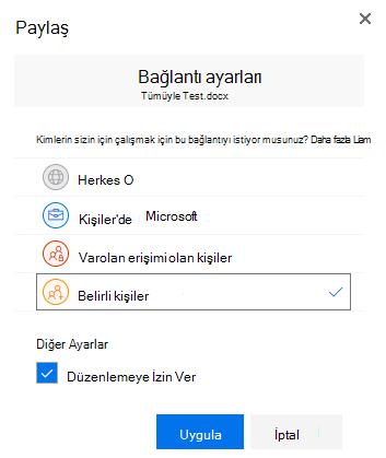 Paylaşım bağlantısı için izinleri belirtmek için bağlantı ayarları iletişim kutusunu kullanma