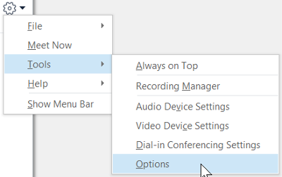 Skype Seçenekler menüsü seçenekleri araçları