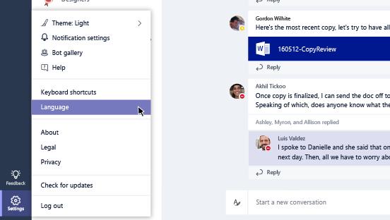 Dil ayarları seçeneğinin ekran görüntüsü.
