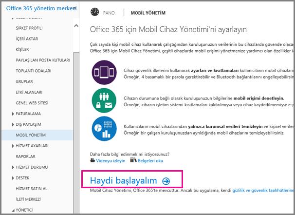Office 365 için Mobil Cihaz Yönetimi'ni ayarlama