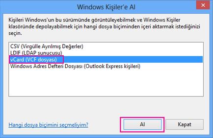 vCard'ı ve ardından İçeri Aktar'ı seçin.