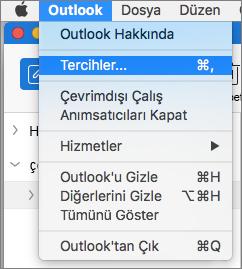 Tercihler'in vurgulandığı Outlook menüsü