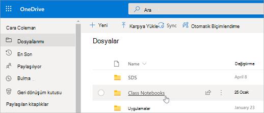 Dosyalarımı, sınıf Not defterleri 'ni seçin.