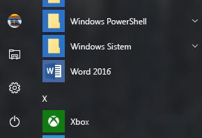 Office kısayollarından kalan Word 2016 kısayolunu gösteren örnek