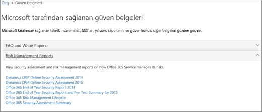 Hizmet güvencesi sayfasını gösterir: Microsoft tarafından sağlanan belgelere güvenin